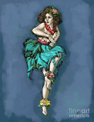 Hawaii Hula Dancer Painting - Retro Hula Dancer by Carrie Joy Byrnes