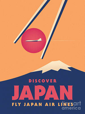 Tourism Wall Art - Digital Art - Retro Japan Mt Fuji Tourism - Orange by Ivan Krpan