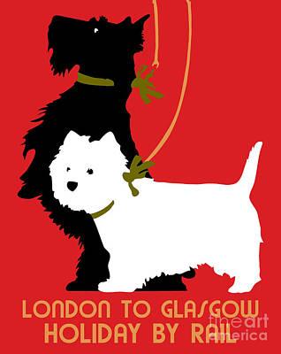 Scottish Terrier Drawing - Retro London And Glasgow By Train, Dogs Terriers  by Heidi De Leeuw