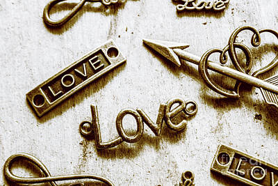 Words Background Photograph - Retro Love Heart Jewels  by Jorgo Photography - Wall Art Gallery