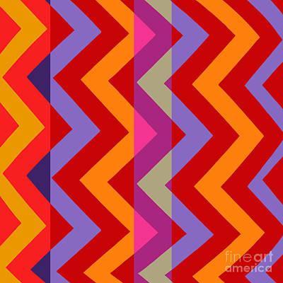 Chevron Painting - Retro Metro Zig Zag Warm Tones by Mindy Sommers