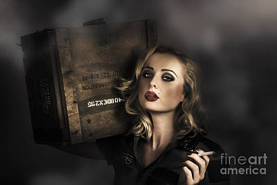 Photograph - Retro Military Pinup Girl In Grunge Army Fashion by Jorgo Photography - Wall Art Gallery