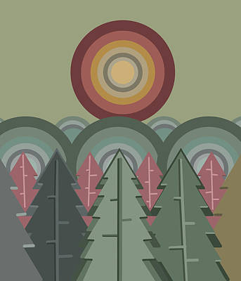 Abstract Landscape Royalty-Free and Rights-Managed Images - Retro Minimal Forest 5 by Bekim Art