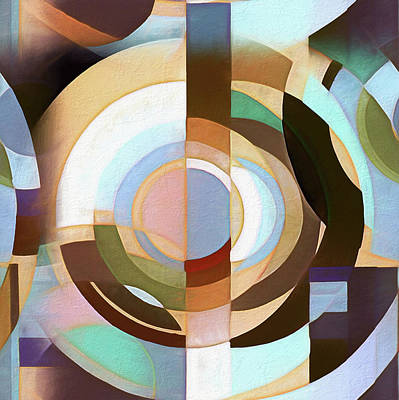 Digital Art - Retro Mod Brown And Blue Grapic Circle Pattern by Tracie Kaska