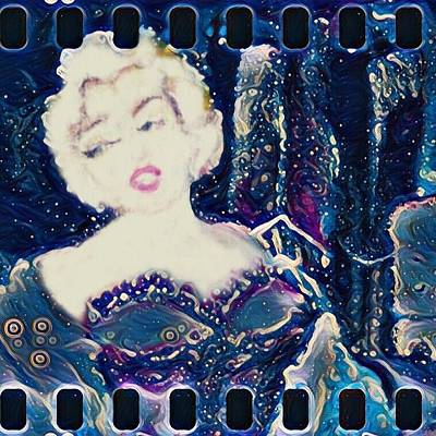 Painting - Retro Movie Strip Marilyn Monroe Cityscape by Michele Carter