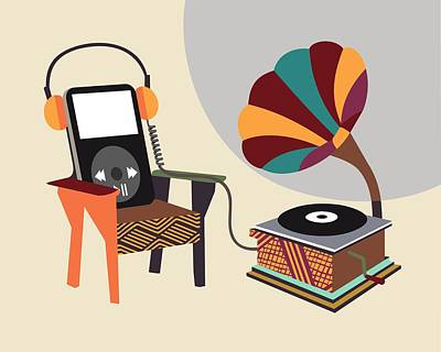 Music Ipod Digital Art - Retro Music Playlist II by Lanre Studio