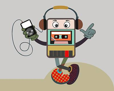 Music Ipod Digital Art - Retro Music Playlist IIi by Lanre Studio