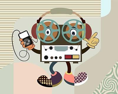 Music Ipod Digital Art - Retro Music Playlist Iv by Lanre Studio
