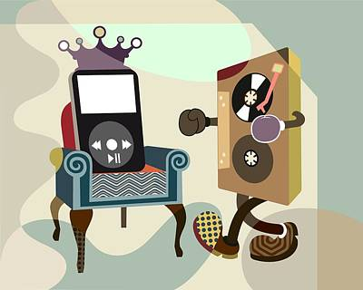 Music Ipod Digital Art - Retro Music Playlist Vi by Lanre Studio