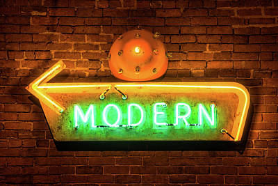 Sign Photograph - Vintage Neon Arrow Sign On Brick Wall  by Gregory Ballos