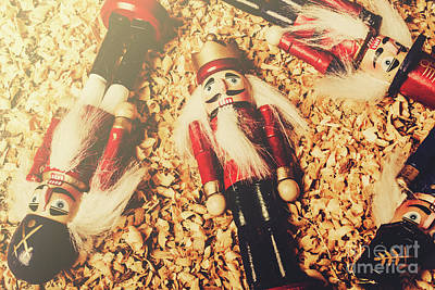 Retro Nutcrackers Art Print
