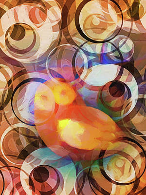 Abstract Digital Painting - Retro Owl by Lutz Baar