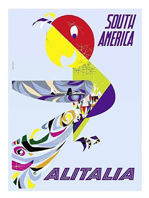 Parrot Digital Art - Retro Parrot South America Alitalia Vintage Airline Travel Poster by Retro Graphics