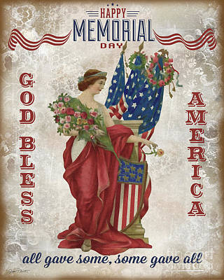 Print featuring the digital art Retro Patriotic-b by Jean Plout