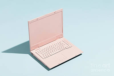 Photograph - Retro Pink Laptop On A Pastel Blue Background. by Michal Bednarek