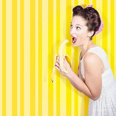 Retro Pinup Girl Eating Banana In 1950s Fashion Art Print