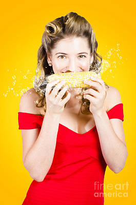 Retro Pinup Girl Eating Gmo Free Corn Cob Art Print