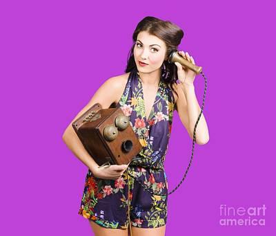 Retro Receptionist On Vintage Telephone. Call Us Art Print