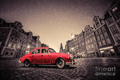 Photograph - Retro Red Car On Cobblestone Historic Old Town In Rain. Wroclaw, Poland by Michal Bednarek