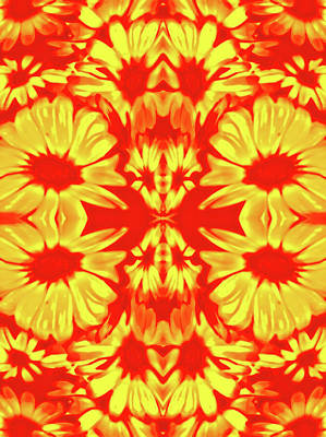Abstract Photograph - Retro Red Daisies by Heather Joyce Morrill