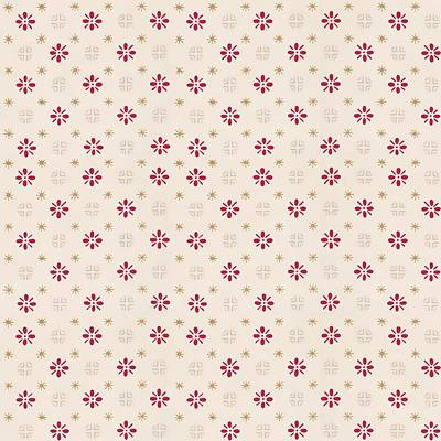 Digital Art - Retro Red Flower Gold Star Vintage Wallpaper by Tracie Kaska