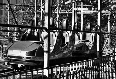 Cross-bar Photograph - Retro Roller Coaster Bw by Mel Steinhauer