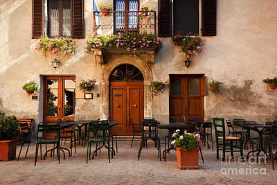 Nobody Photograph - Retro Romantic Restaurant, Cafe In A Small Italian Town by Michal Bednarek