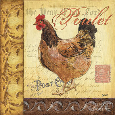Farm Painting - Retro Rooster 1 by Debbie DeWitt