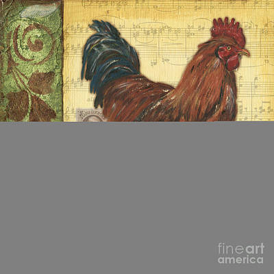 Notes Painting - Retro Rooster 2 by Debbie DeWitt