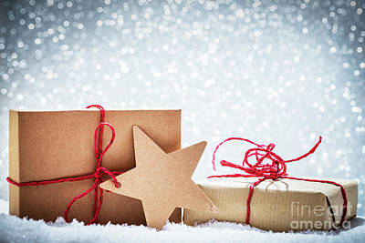 Wrap Photograph - Retro Rustic Christmas Gifts, Presents In Snow On Glitter Background by Michal Bednarek