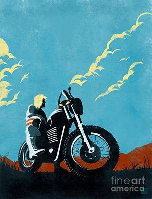 Motorcycle Wall Art - Painting - Retro Scrambler Motorbike by Sassan Filsoof