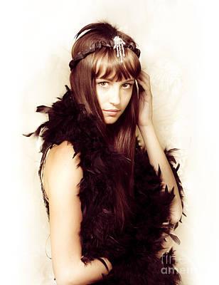 Retro Showgirl In Feather Boa Art Print