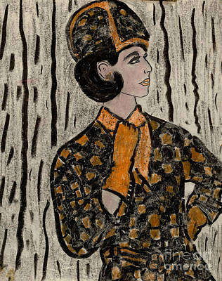 Drawing - Retro Sixties Model In Black And Orange by Sonya Chalmers