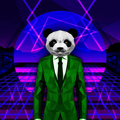 Science Fiction Drawing - Retro Style Panda by Gallini Design