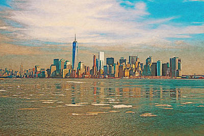 Digital Art - Retro Style Skyline Of New York City, United States by Anthony Murphy