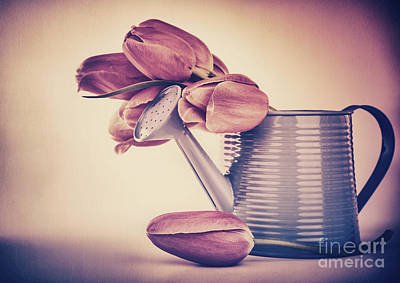 Photograph - Retro Style Tulips Bouquet by Anna Om