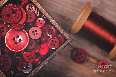 Retro Styled Red Buttons And Thread Art Print