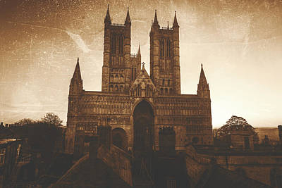 Photograph - Retro Stylized Image Of Lincoln Cathedral West Facade by Jacek Wojnarowski