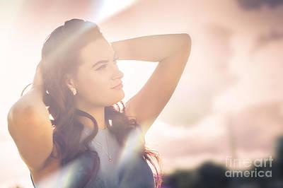 Retro Summer Pinup Girl In Bright Rays Of Sunlight Art Print
