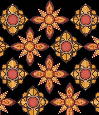 Abstract Flowers Digital Art - Retro Sunflowers 4 by Bekim Art