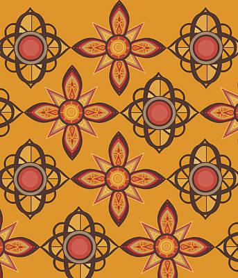 Abstract Flowers Digital Art - Retro Sunflowers 5 by Bekim Art