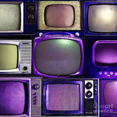 Retro Television Marathon 20150928square V2 M128 Art Print