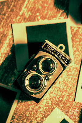 Retro Toy Camera On Photo Background Print by Jorgo Photography - Wall Art Gallery