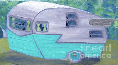 Painting - Retro Trailer by Anne Marie Brown