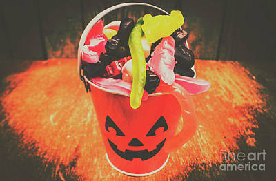 Retro Trick Or Treat Pumpkin Head  Art Print by Jorgo Photography - Wall Art Gallery