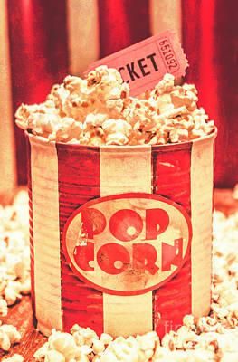 Tickets Photograph - Retro Tub Of Butter Popcorn And Ticket Stub by Jorgo Photography - Wall Art Gallery