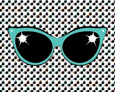 Digital Art - Retro Turquoise Cat Sunglasses by MM Anderson
