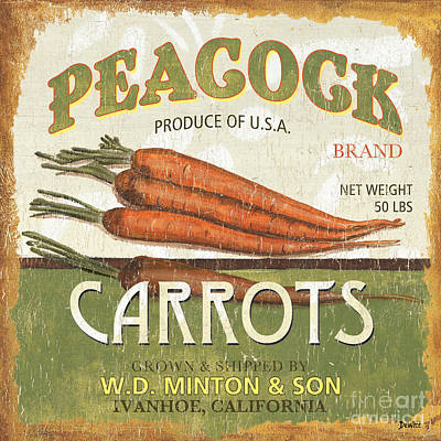 Peacocks Painting - Retro Veggie Label 2 by Debbie DeWitt
