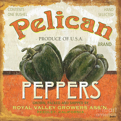 Peppers Painting - Retro Veggie Labels 3 by Debbie DeWitt