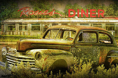 Photograph - Retro Vintage Automobile Languishing  With Historic Rosie's Diner by Randall Nyhof